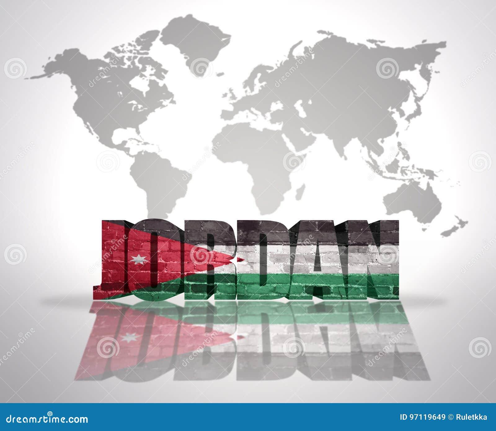 Word Jordan On A World Map Background Stock Illustration ...