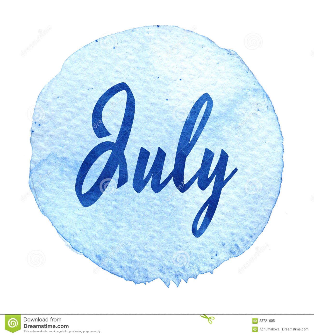 Word July On Blue Watercolor Background. Sticker, Label, Round Shape Stock Illustration