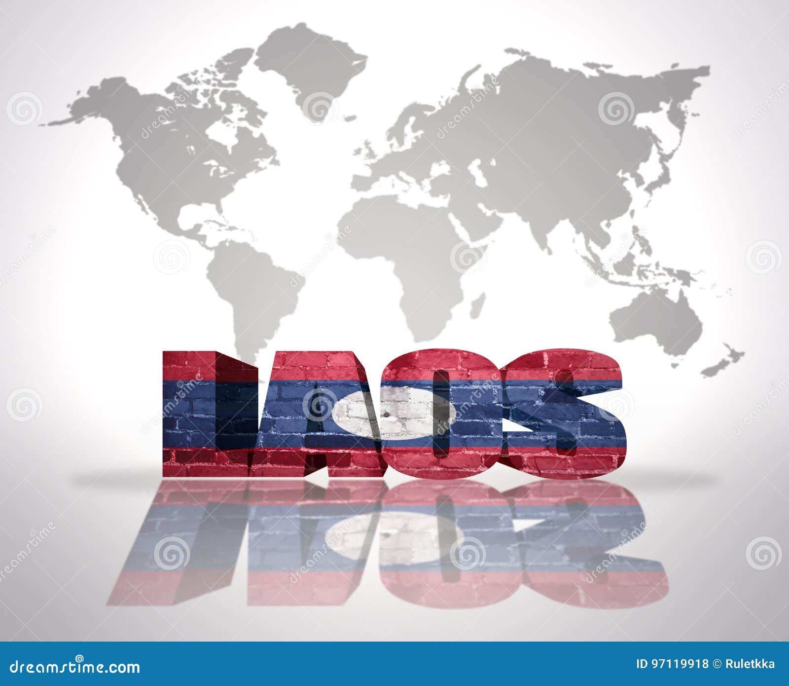 Carte Du Monde Laos.Word Laos Sur Un Fond De Carte Du Monde Illustration Stock