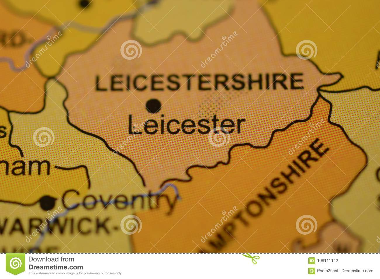 The Word Leicester England On The Map Stock Photo Image Of