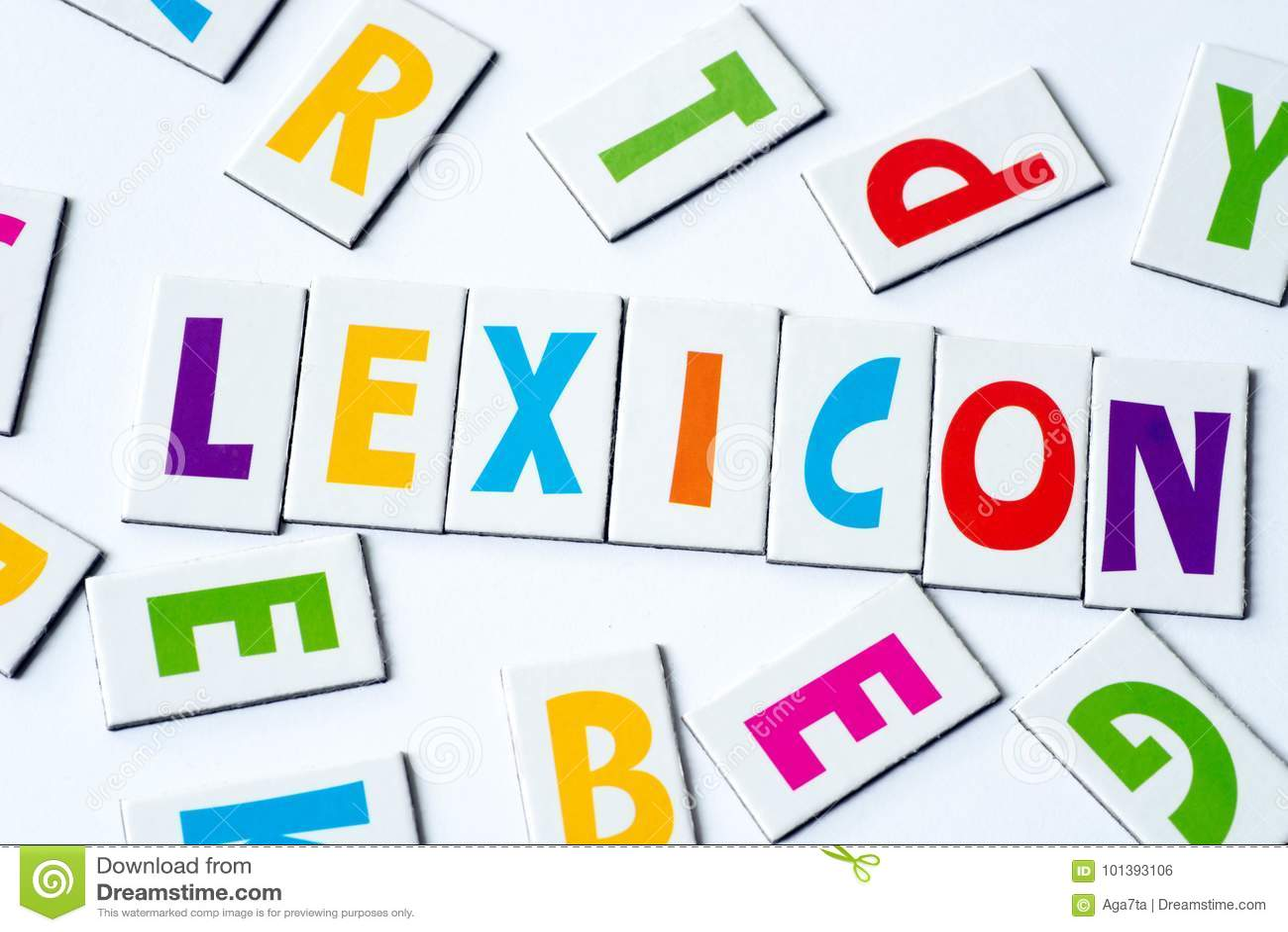Word lexicon van kleurrijke brieven wordt gemaakt die