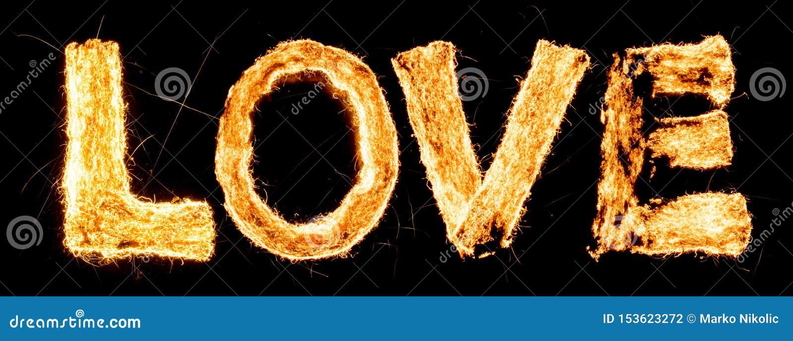 Word LIEFDE het branden Staalwol het smeulen Mooie verbranding Opwindende typografie, doopvont
