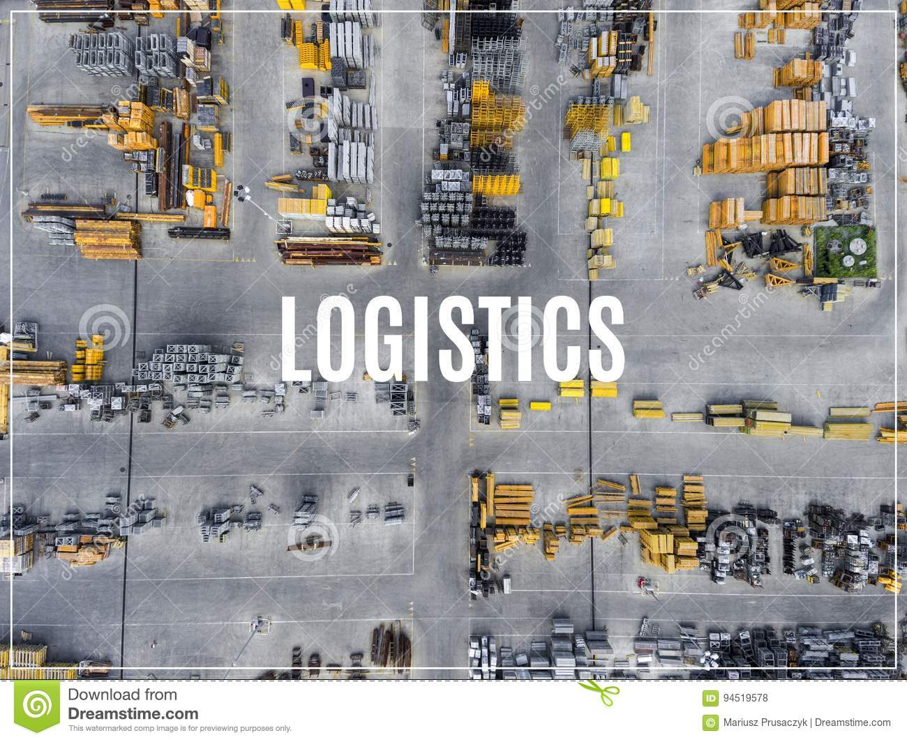 Word Logistics. Industrial storage place, view from above.