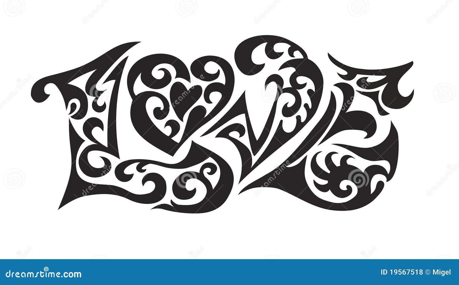 Word Logo Love Tatoo Royalty Free Stock Photos Image