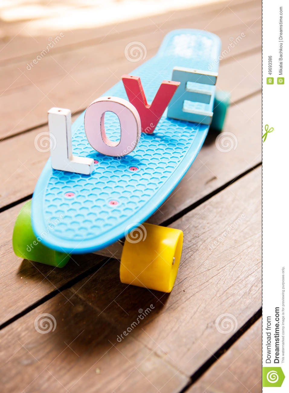 Word Love On The Blue Penny Board Stock Photo Image Of Retro