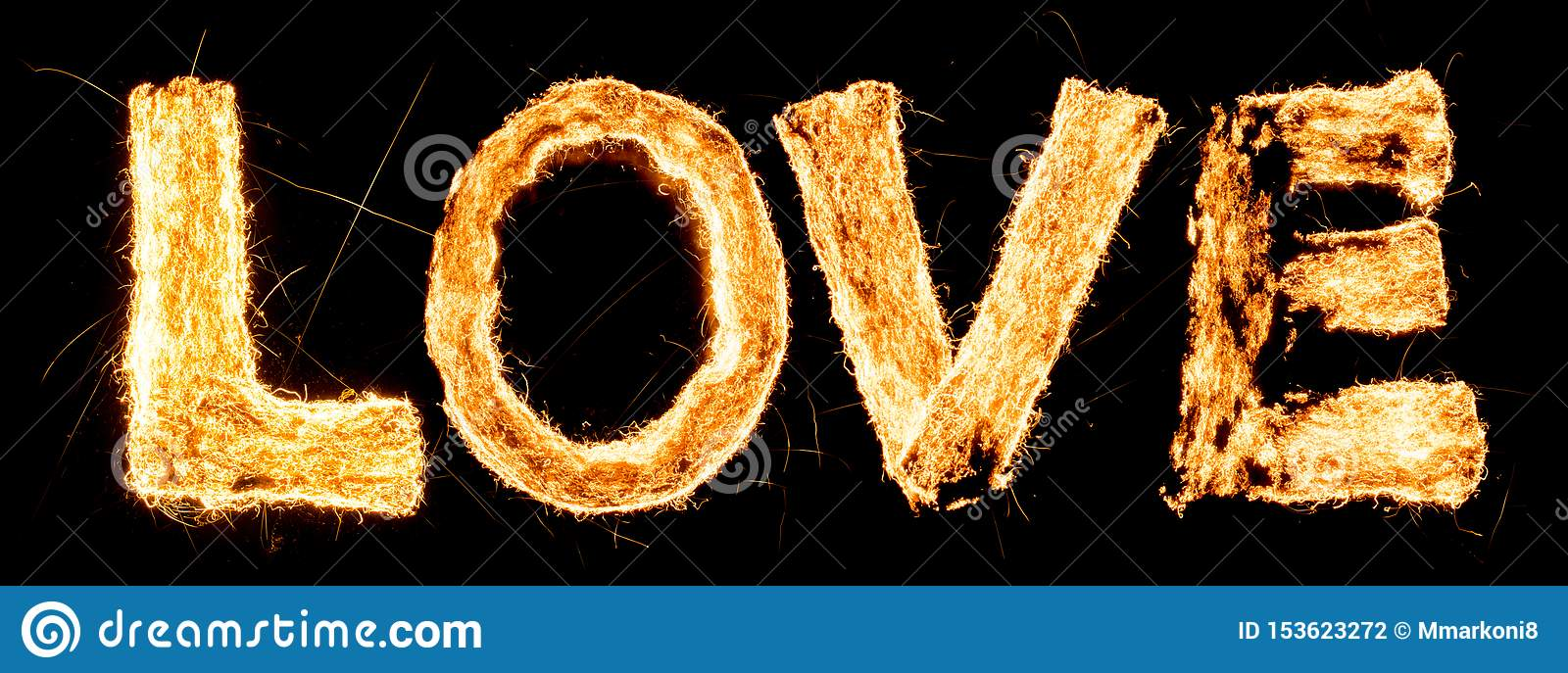 Word LOVE burning. Steel wool smoldering. Beautiful combustion. Exciting typography, font.