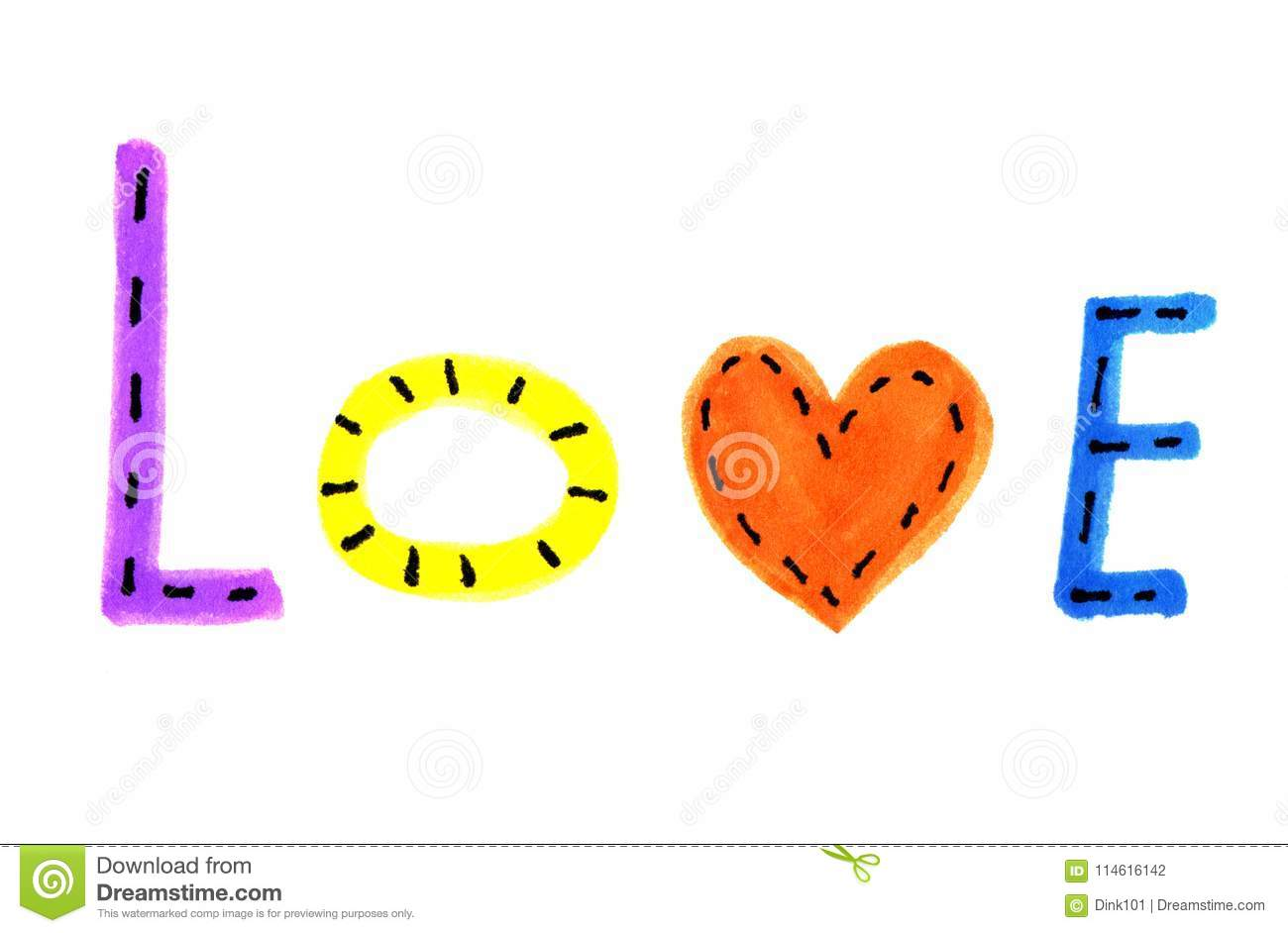 Word Love From Colorful Letters And Heart Symbol Stock Illustration
