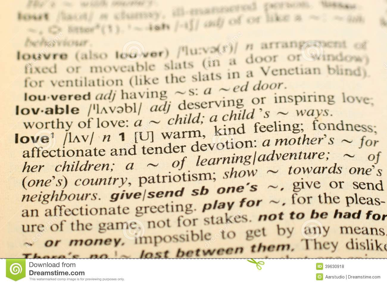 Download Word Love In A Dictionary Stock Photo Image Of Object