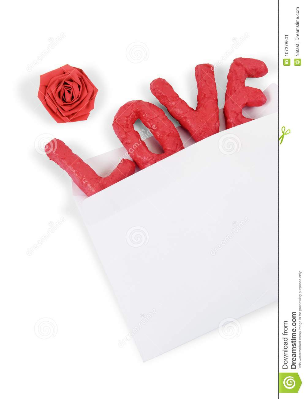 Word Love In The Envelope Isolated On White Background Concept Of