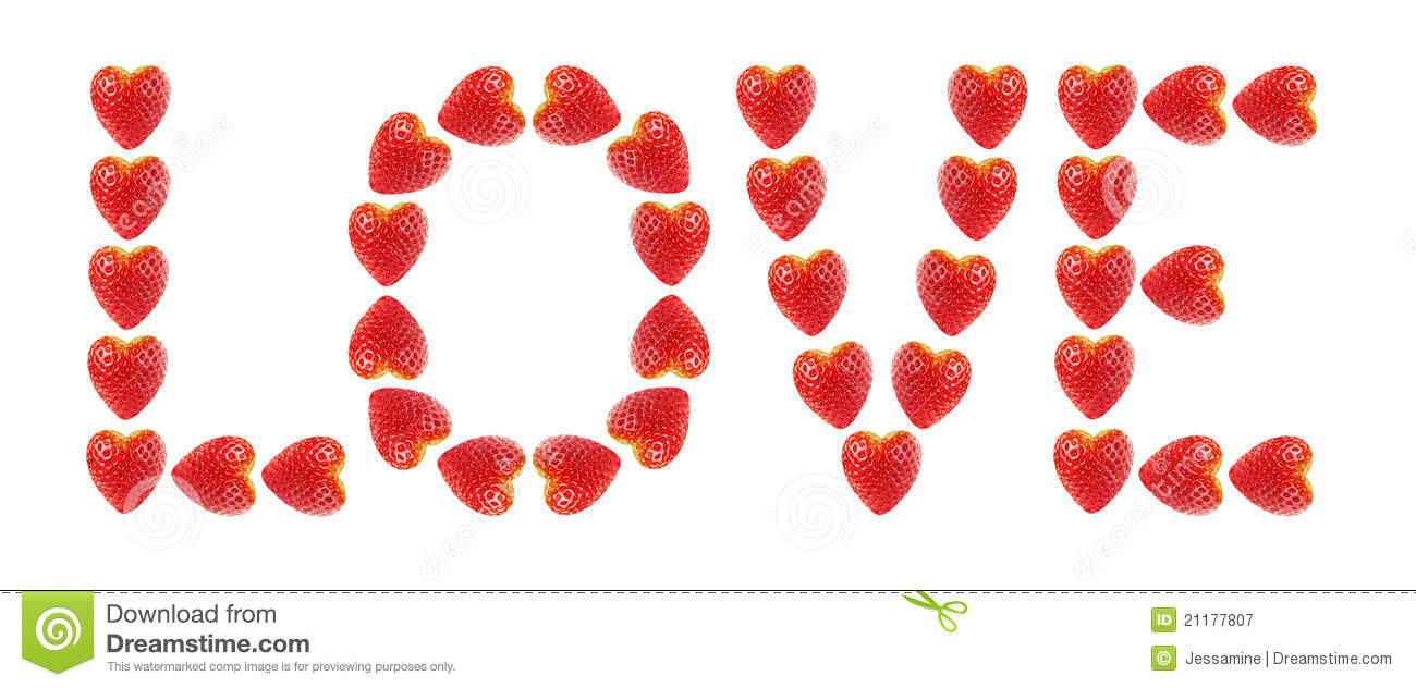 Word love made of strawberries