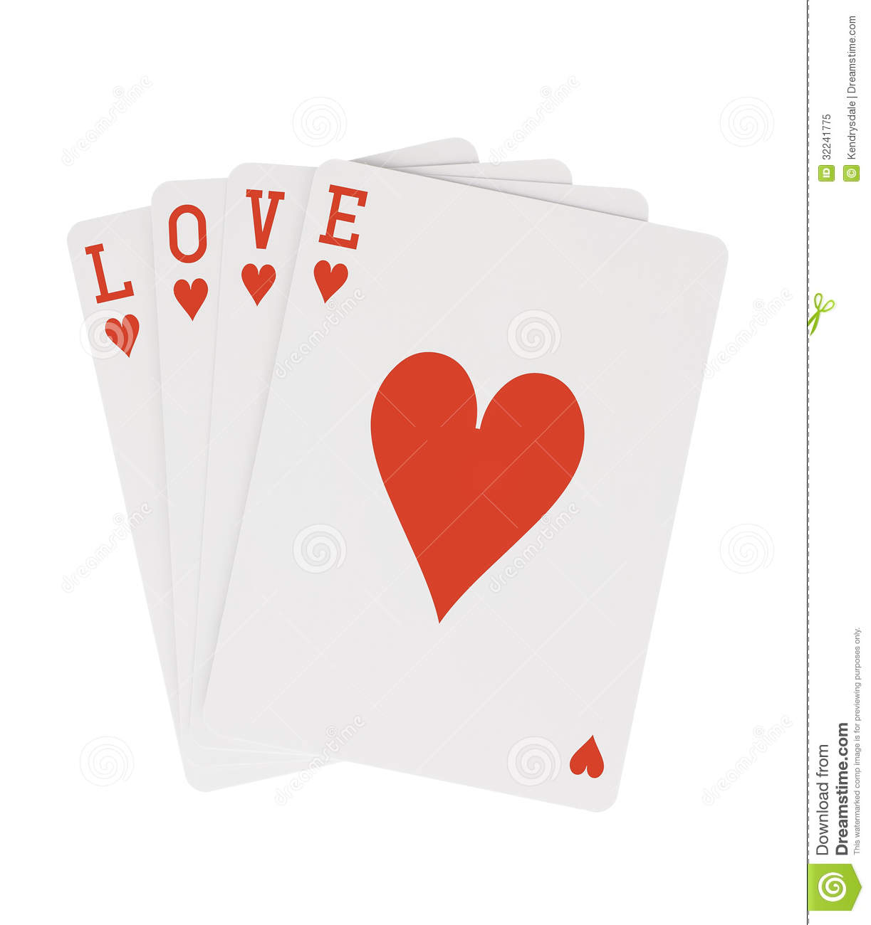 Word LOVE Playing Cards Hearts With Clipping Path Royalty Free – Valentine Playing Cards