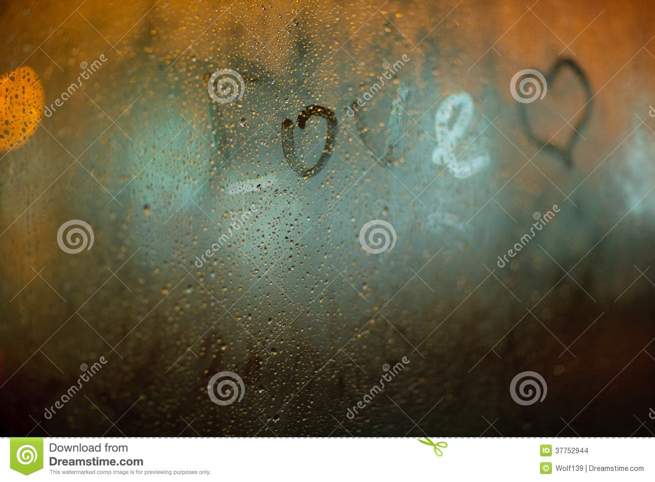 Download The Word Love On The Window In Rain Stock Photo Image Of Brightly