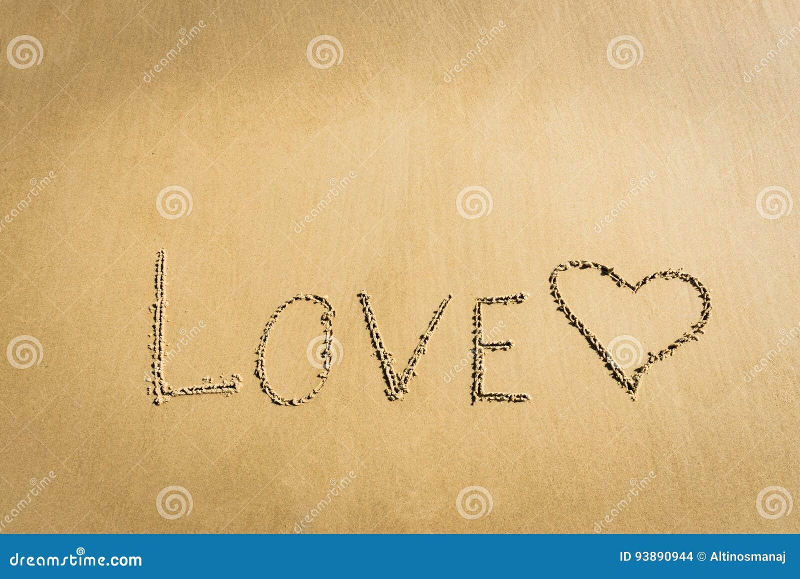 Word love written on the sand heart drawn message romantic symbol word love written on the sand heart drawn message romantic symbol concept biocorpaavc