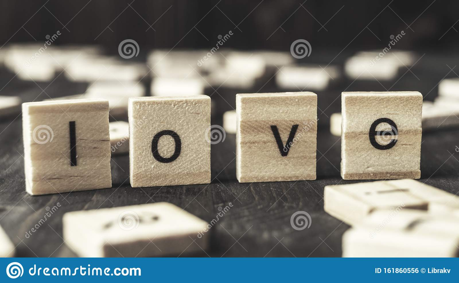 Word love written on wooden blocks