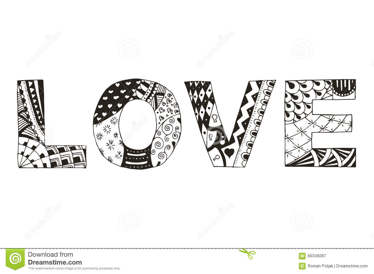 Word Love Zentangle Stylized On White Background Vector Il