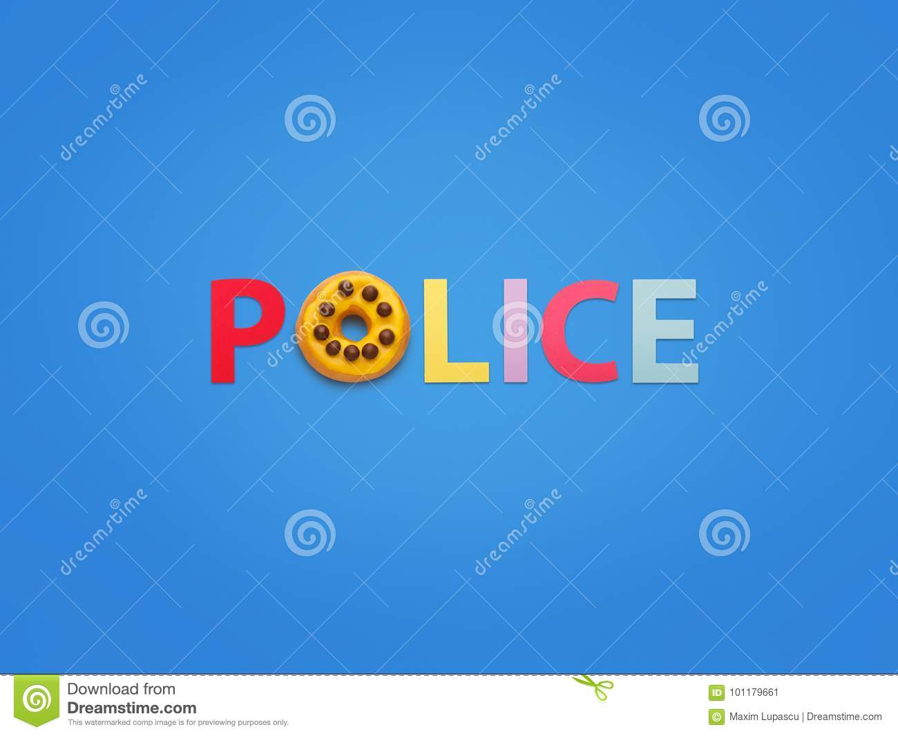 Word Made With Doughnut Saying Police Stock Image Image Of