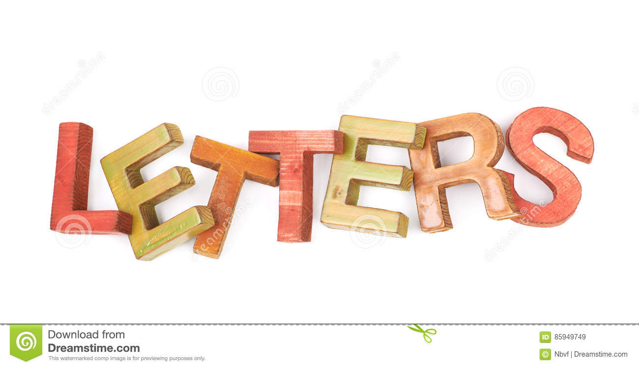 word made of wooden letters isolated stock image With letters made from photos
