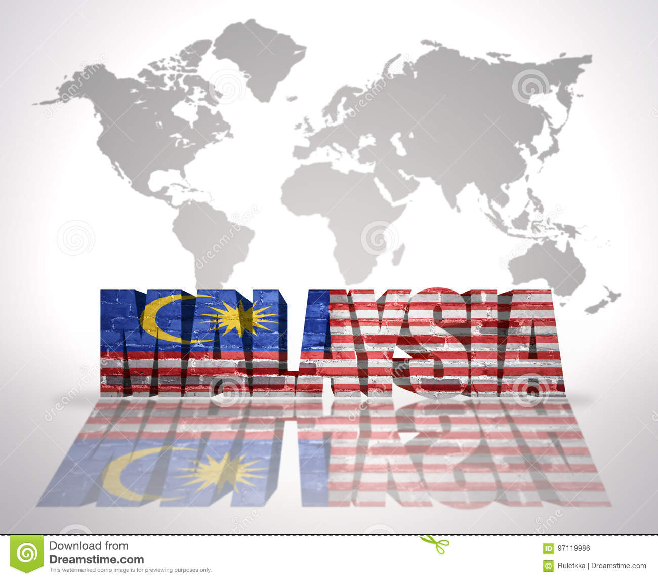 Malaysia On The World Map.Word Malaysia On A World Map Background Stock Illustration