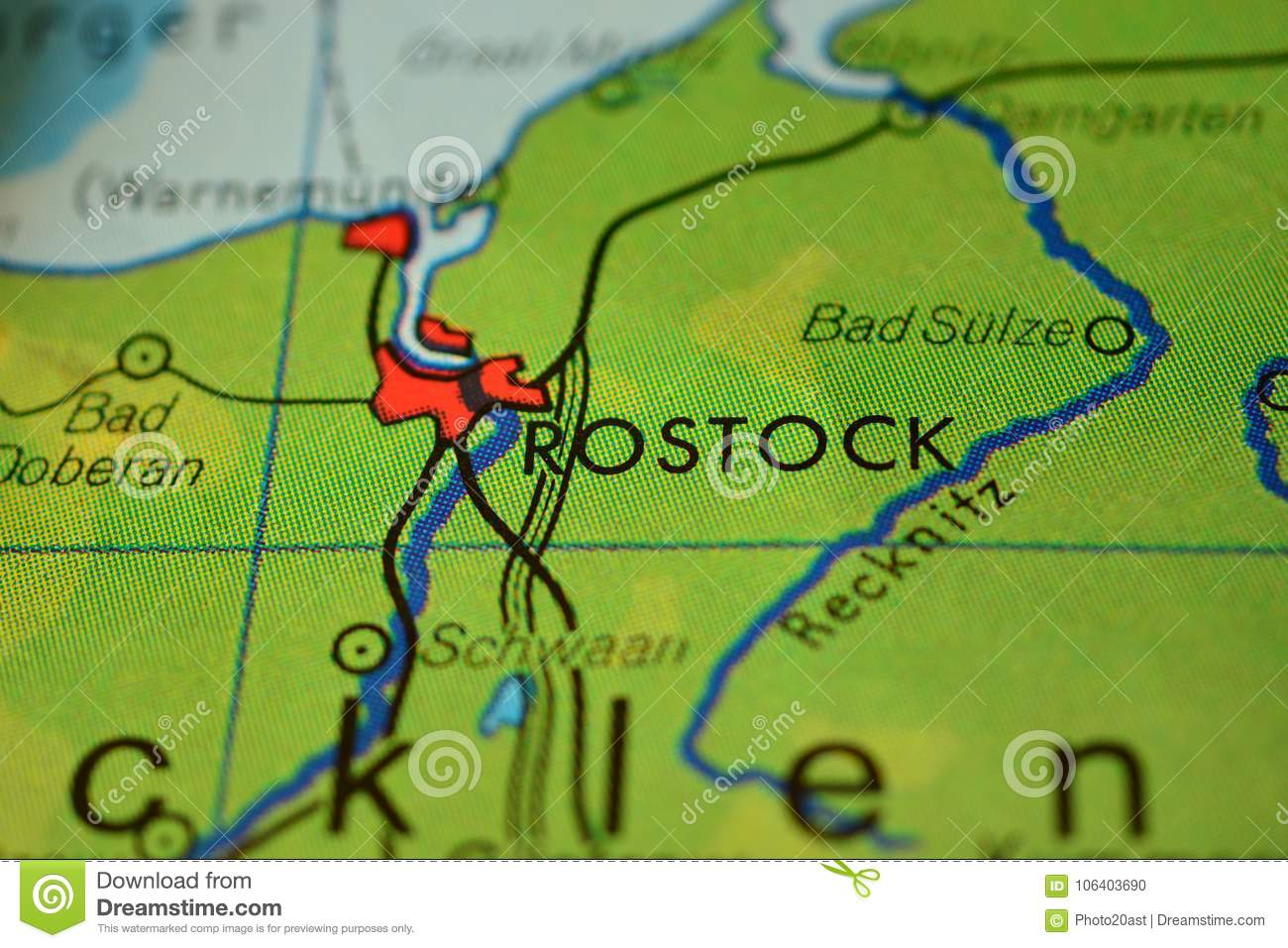 The Word Rostock On The Map Stock Photo Image Of Detail Graphic