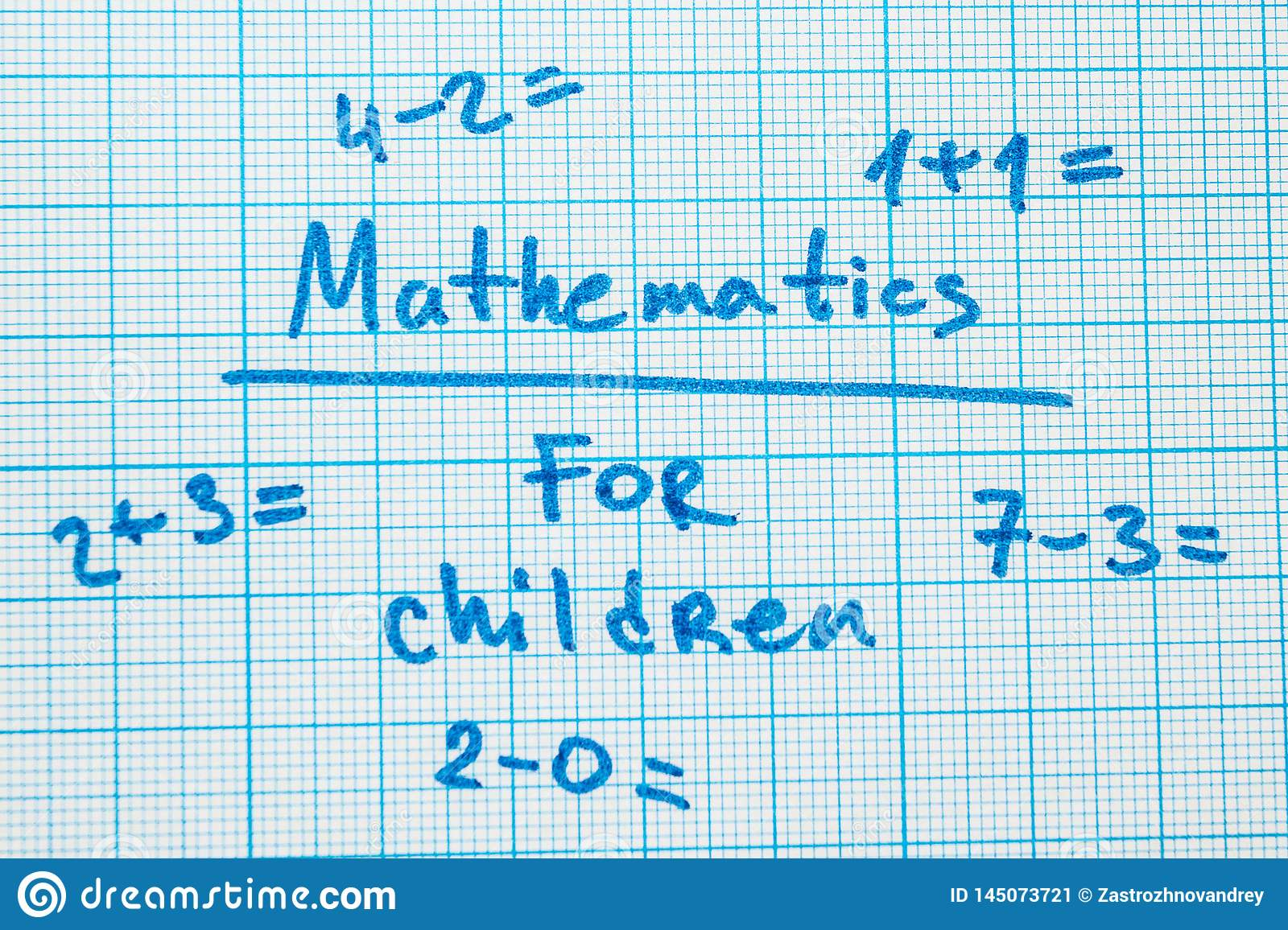 The word `mathematics for children` with tasks in a notebook for drawing.