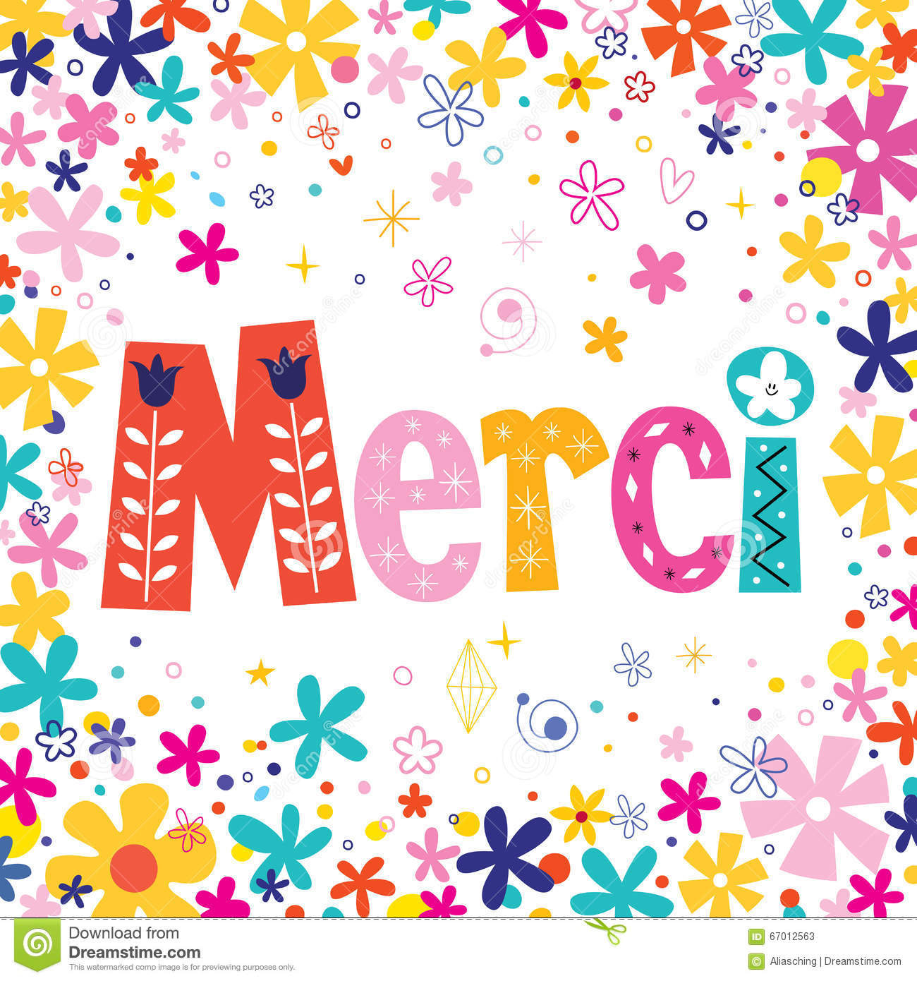 Stock Vector: Word Merci Thanks in French typography unique lettering ...