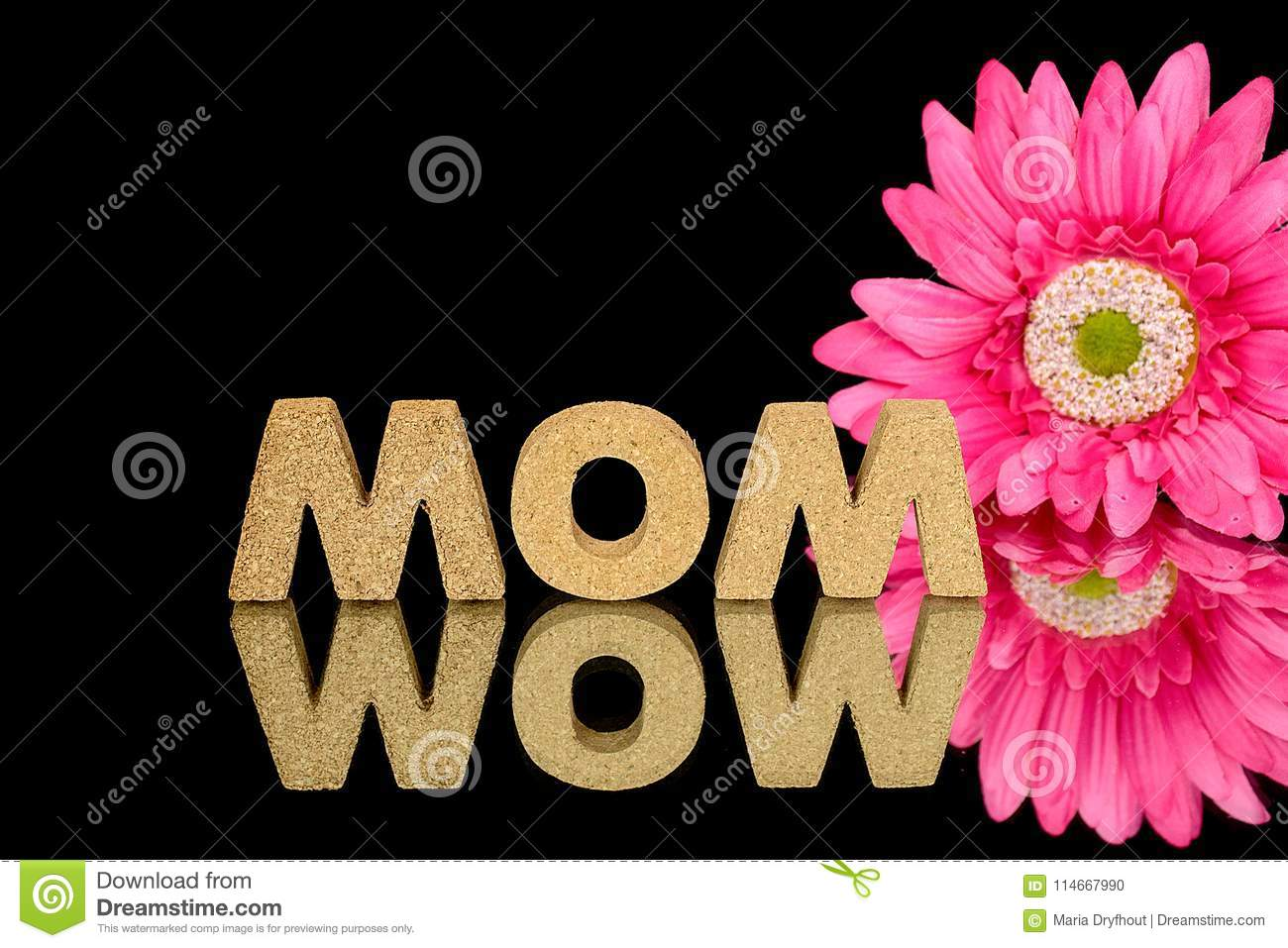 Word Mom In Cork With Daisy Stock Photo Image Of Glass Silk