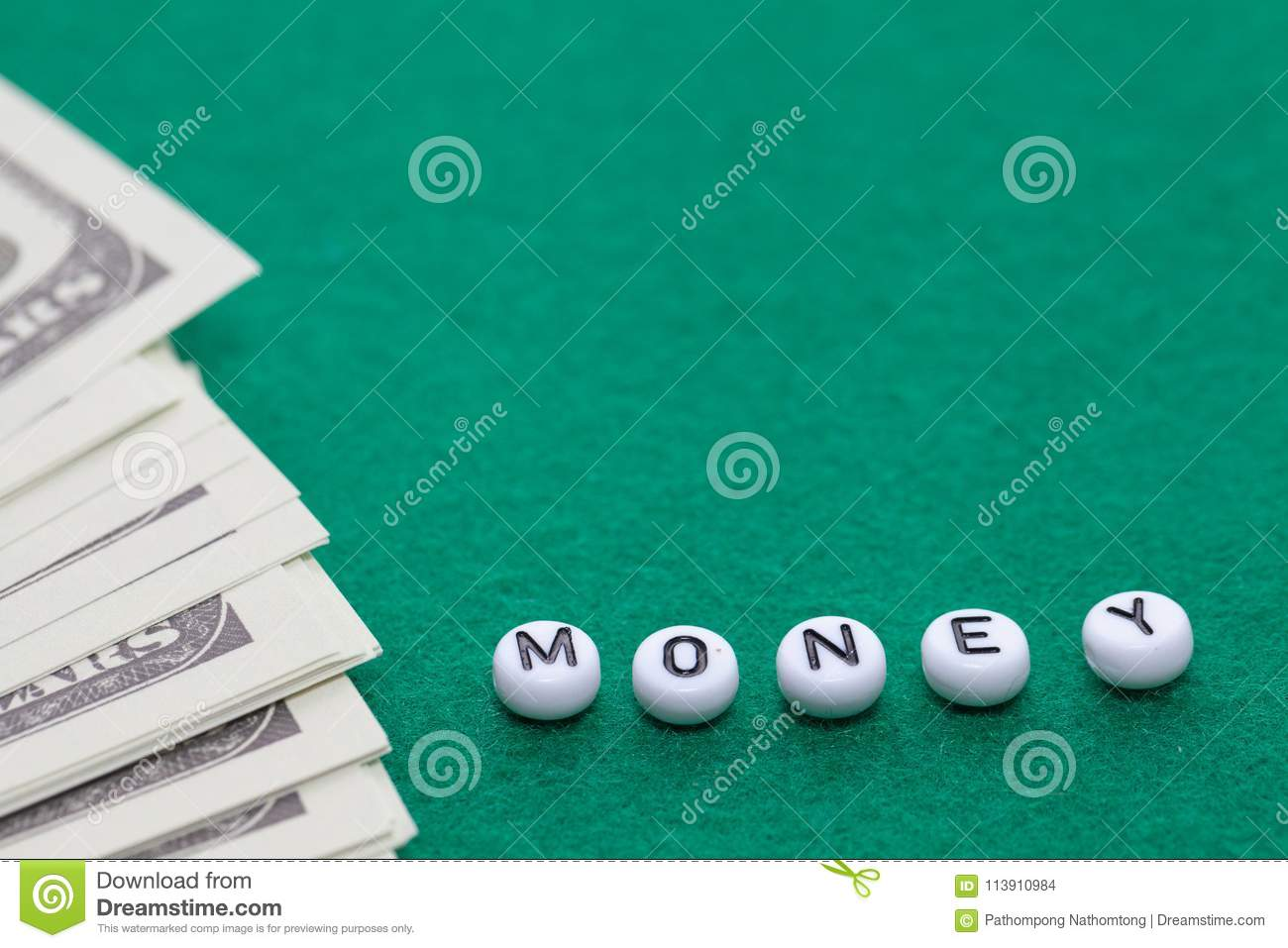 Word `money` with poker chips and money