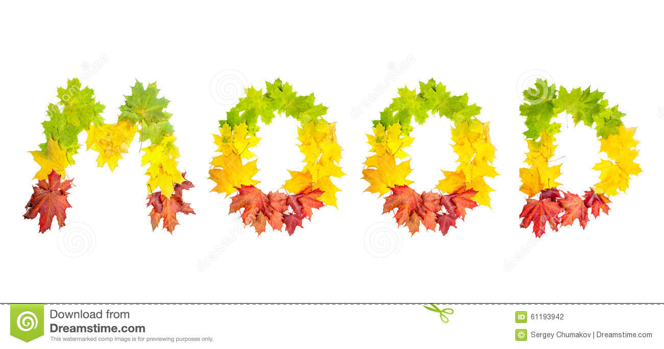 Word Mood Made Of Autumn Maple Leaves In Bright Colors