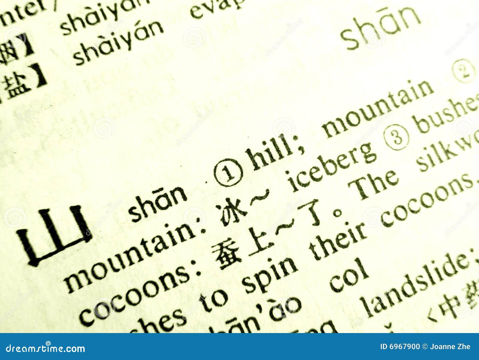Word Mountain Chinese Language Definition Stock Photo