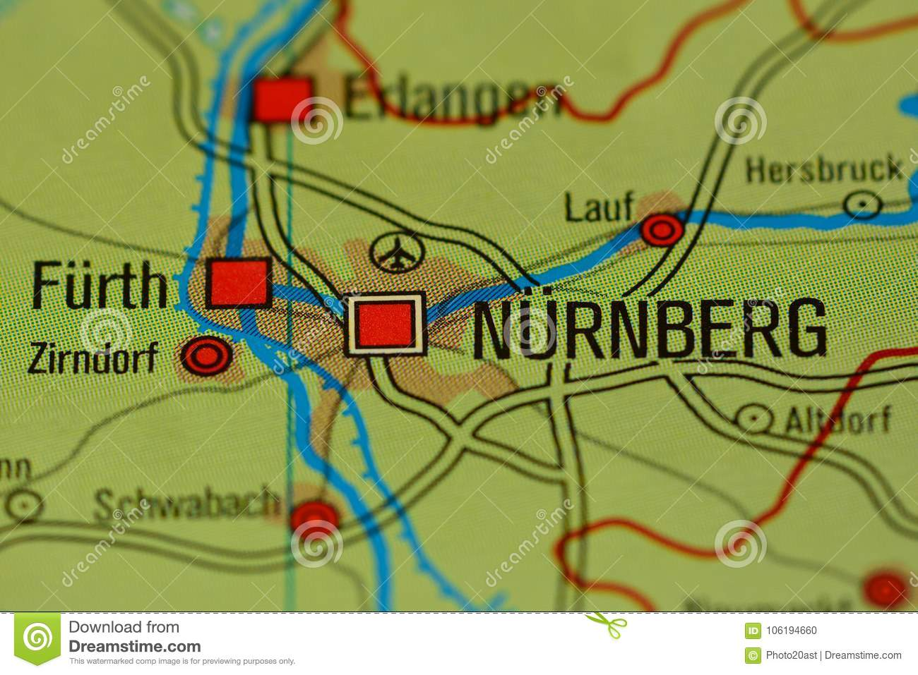 Map Of Zirndorf Germany.The Word Nurnberg Nuremberg On The Map Stock Photo Image Of