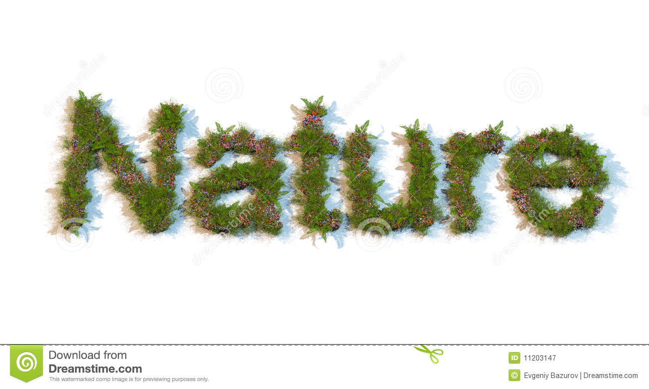 Nature Images 2mb: Word Nature Typed By Flowers And Grass Stock Image
