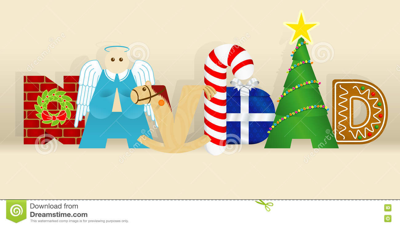 Christmas In Spanish.Word Navidad Christmas In Spanish Language Consisting Of A
