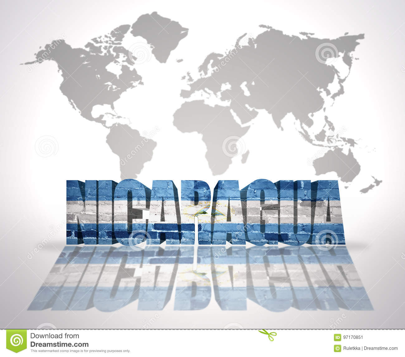 Word Nicaragua On A World Map Background Stock Illustration ...