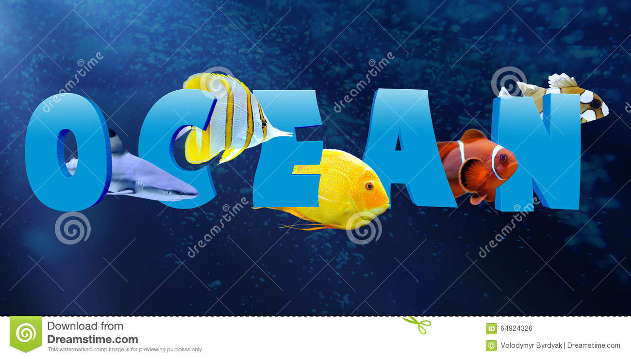 Word ocean with many tropical fish stock photo image for Is fishes a word