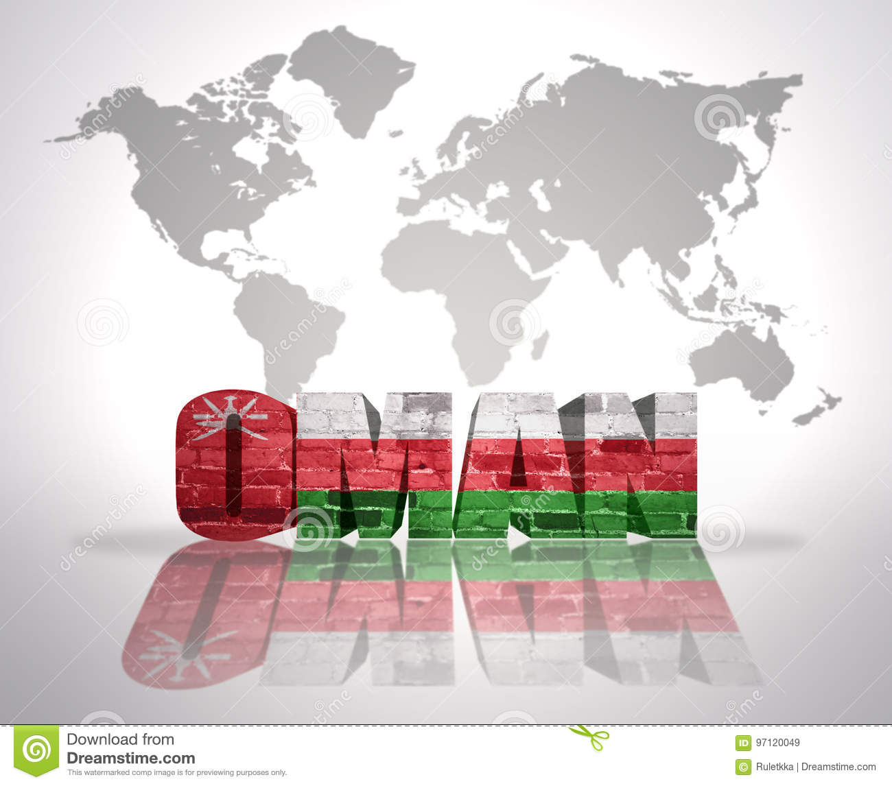 Word oman on a world map background stock illustration word oman with omani flag on a world map background gumiabroncs Gallery
