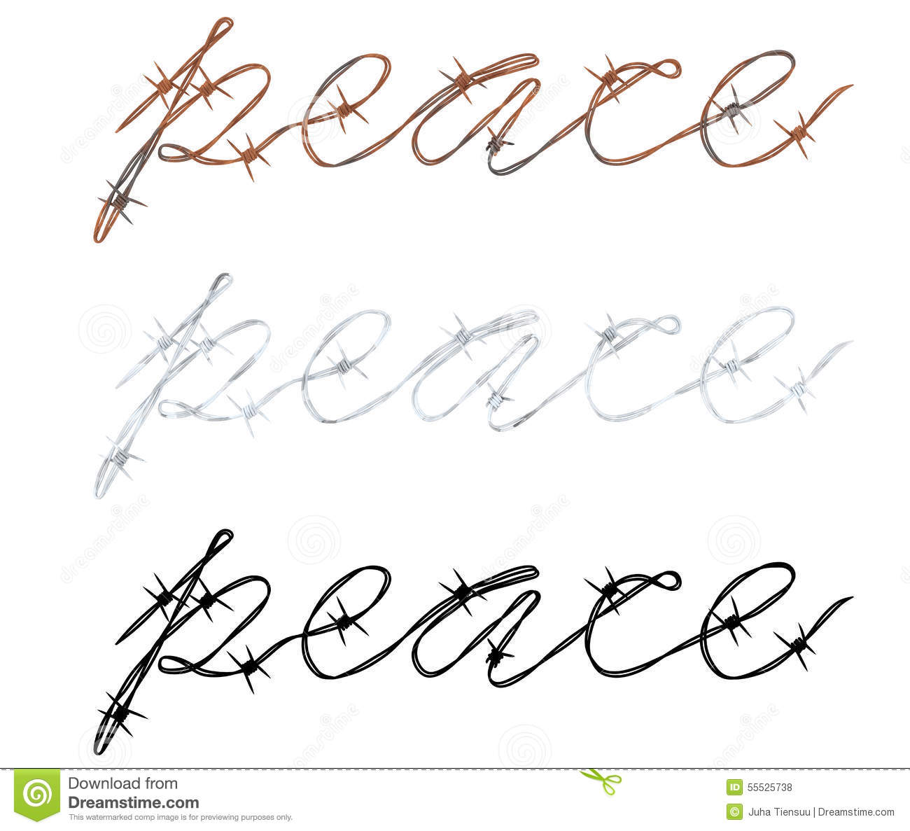 Word Peace Written In Barbed Wire Stock Illustration - Illustration ...