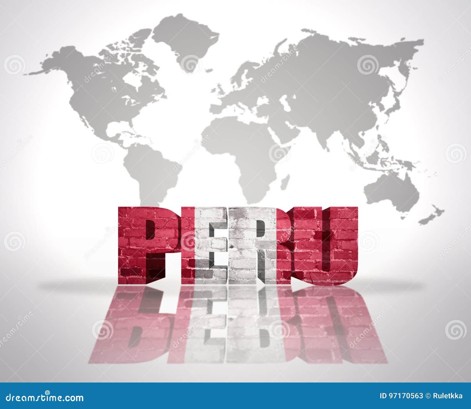 Word Peru On A World Map Background Stock Illustration ...