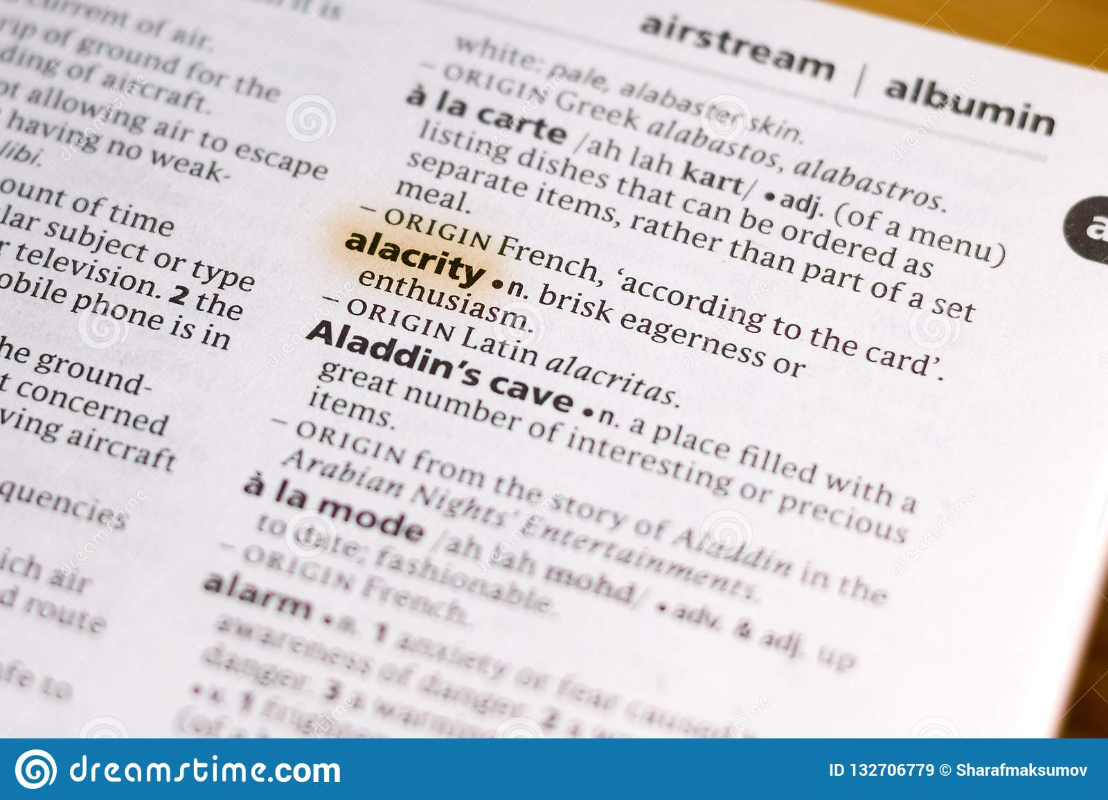 The Word Or Phrase Alacrity In A Dictionary Stock Image - Image of