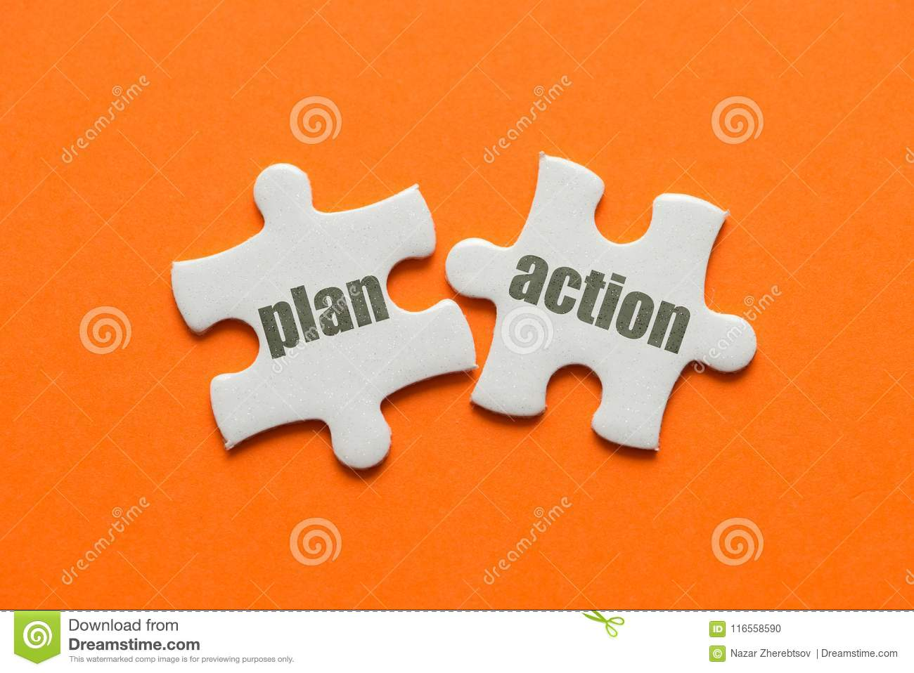 The word Plan Action on two matching puzzle on orange background