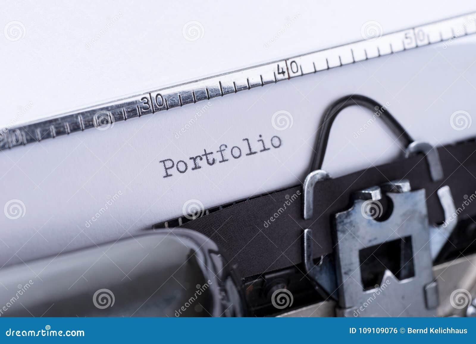 word portfolio written on an old typewriter stock photo image of