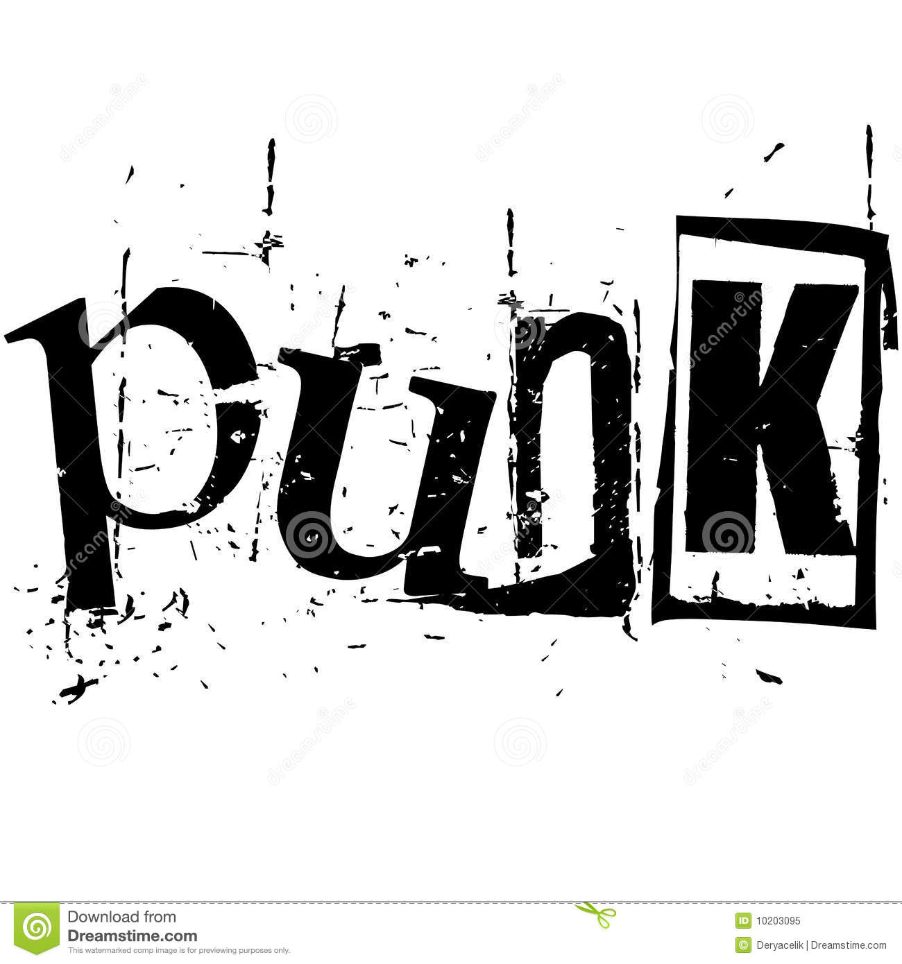 The Word Punk Written In Grunge Cutout Style Royalty Free