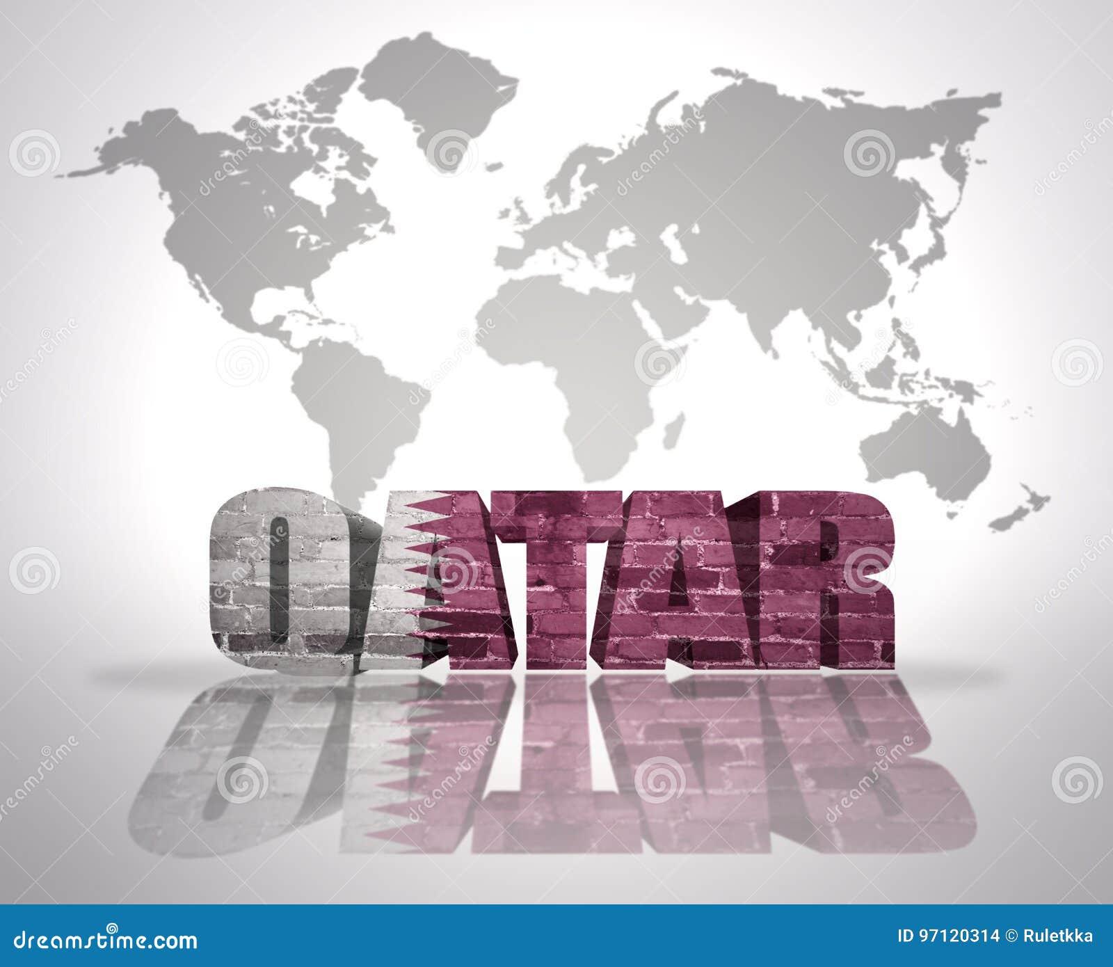 Carte Du Monde Qatar.Word Qatar Sur Un Fond De Carte Du Monde Illustration Stock