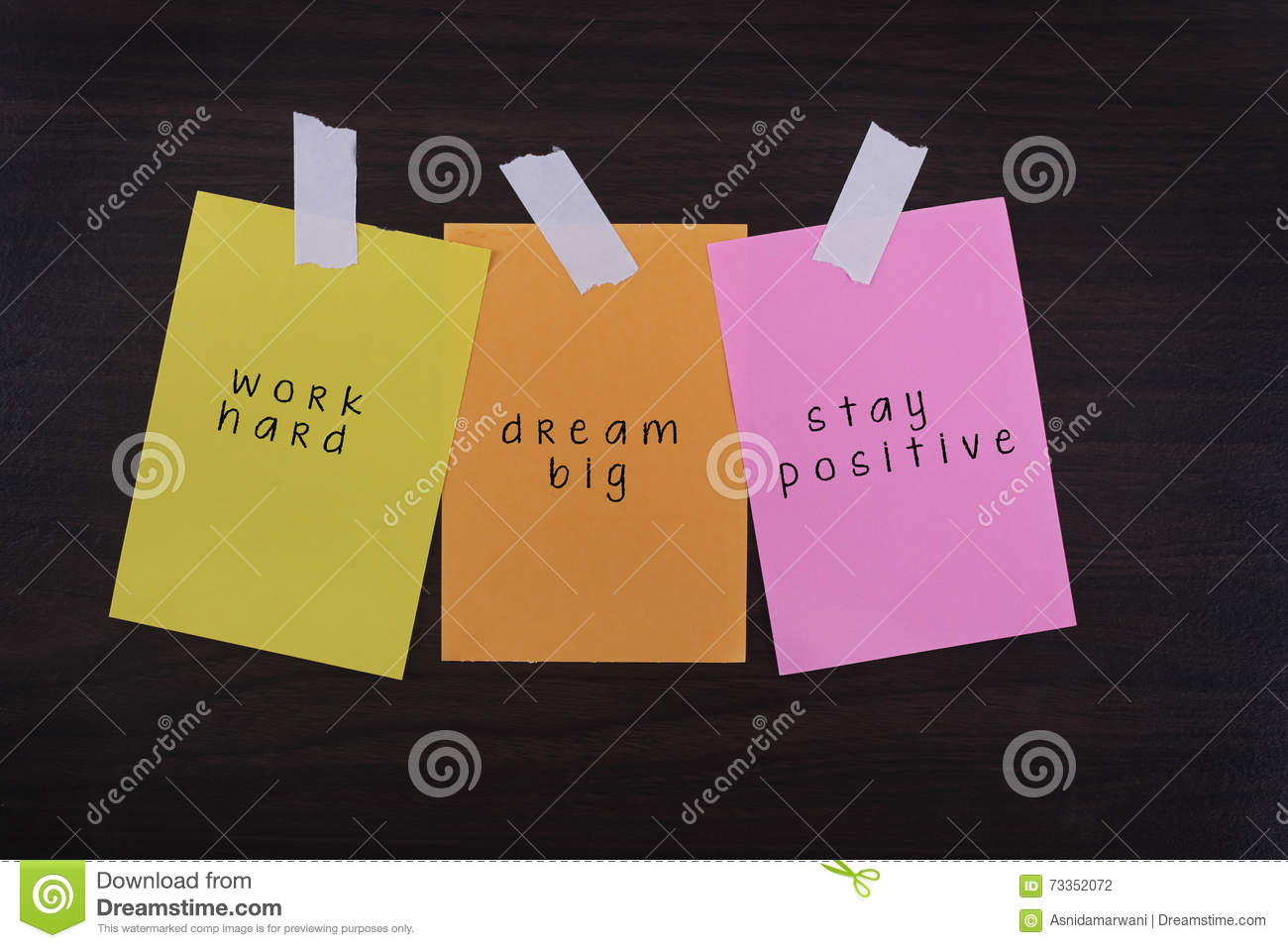Word Quotes Of Work Hard Dream Big Stay Positive On Sticky Col