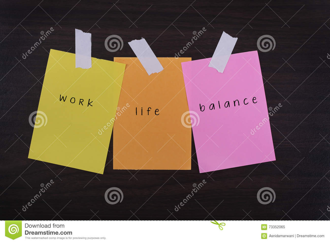 Work Life Balance Quote Word Quotes Of Work Life Balance On Colorful Sticky Papers Against