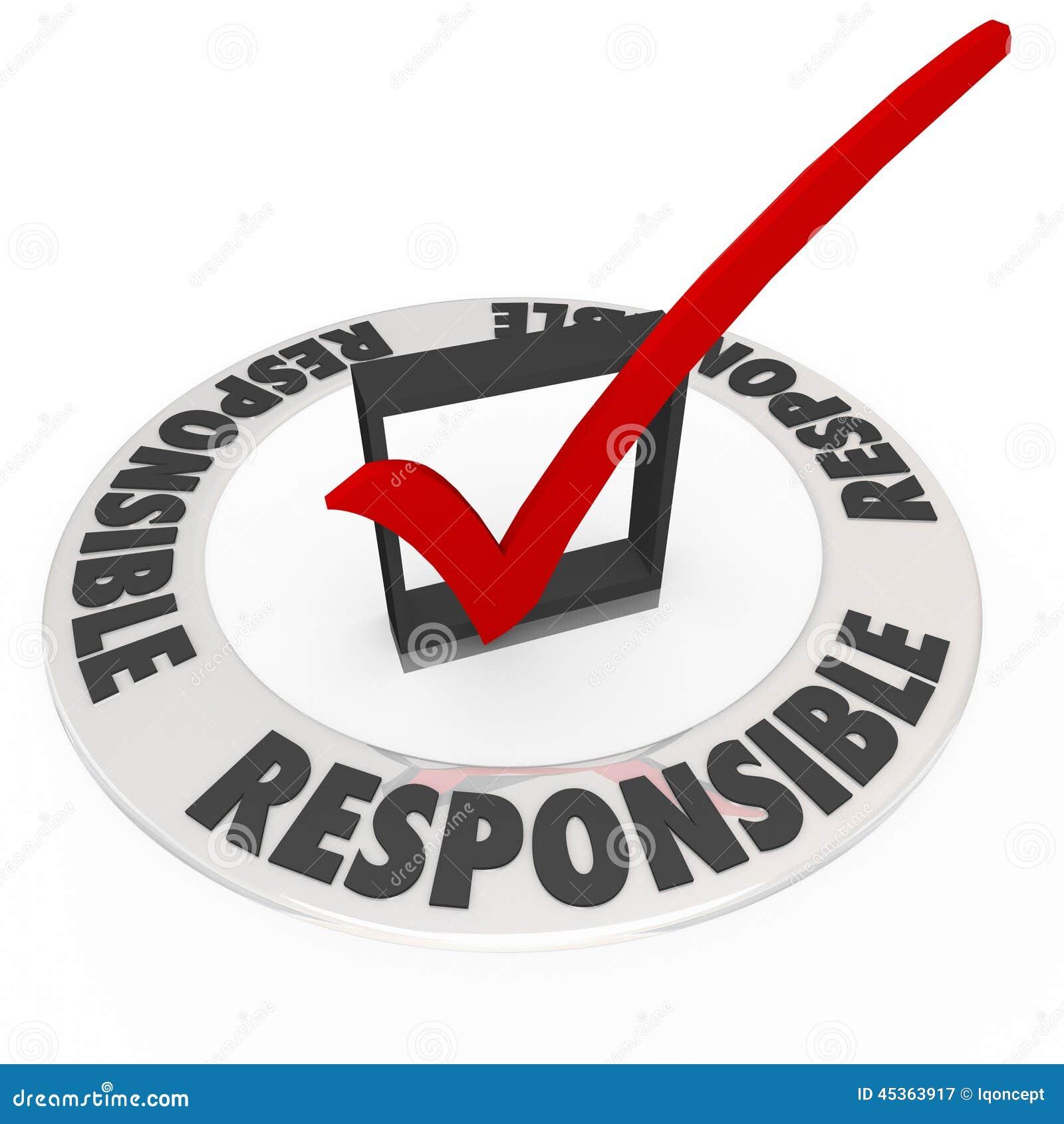 Word responsable autour de contrôle Mark Box Accountable
