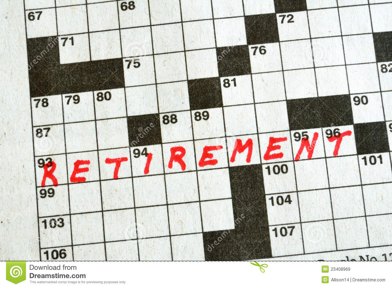 the word retirement on crossword puzzle stock image image of