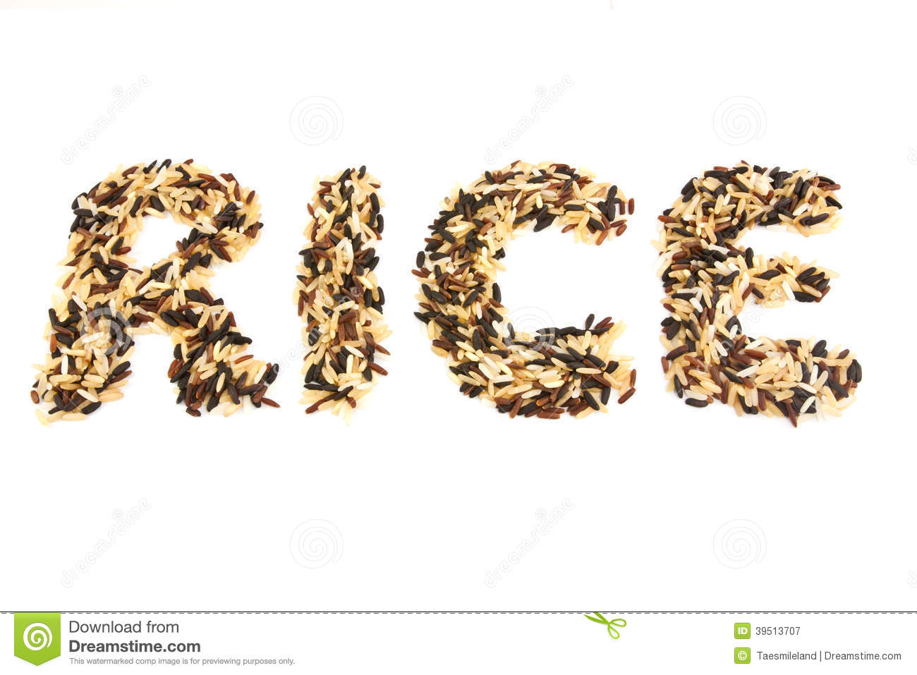 Word rice from rice isolated