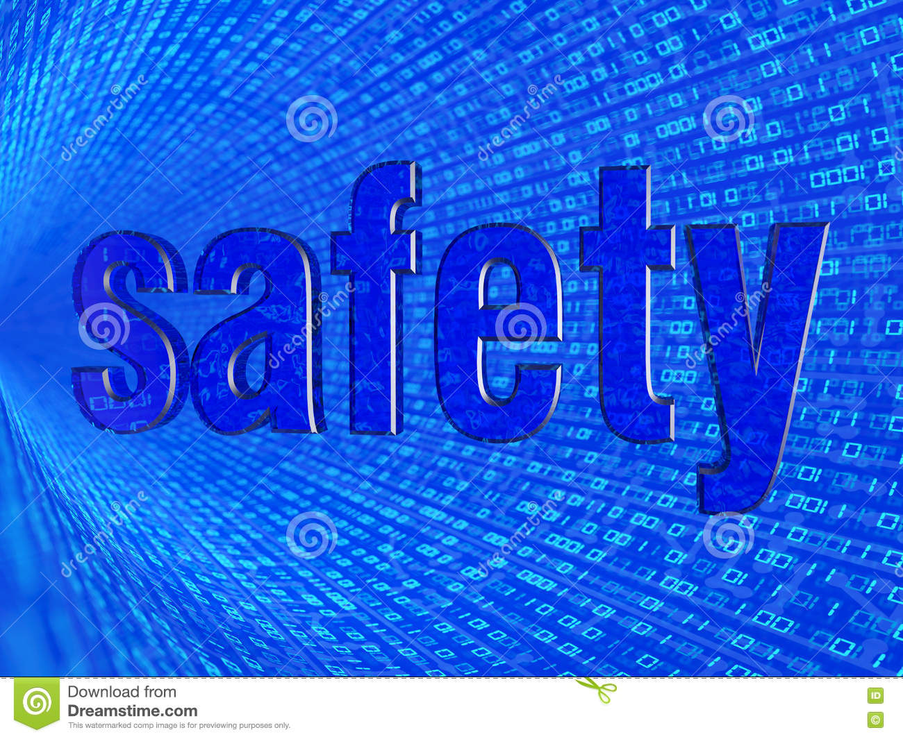 the word safety in the background numbers one and zero