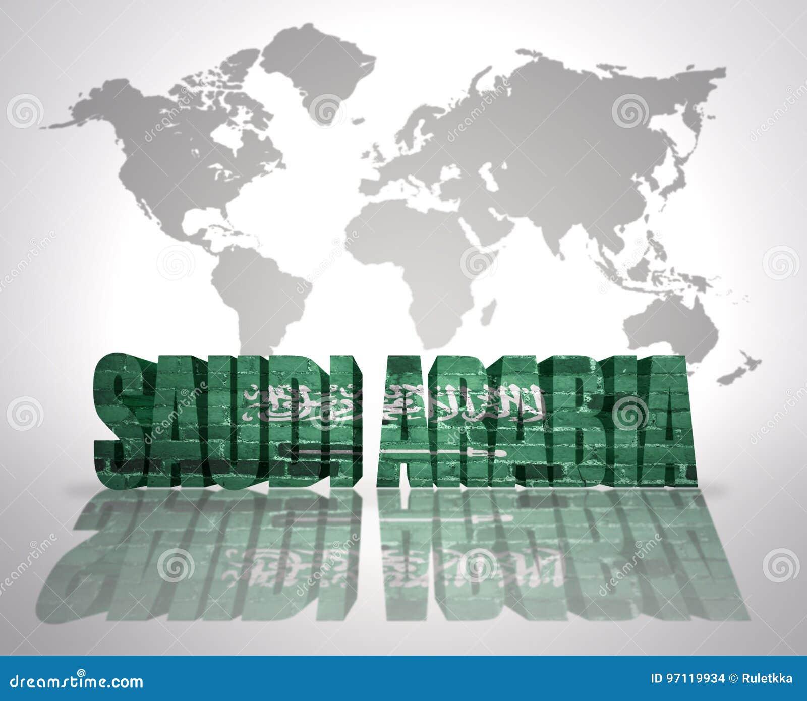 Word Saudi Arabia On A World Map Background Stock Illustration ...