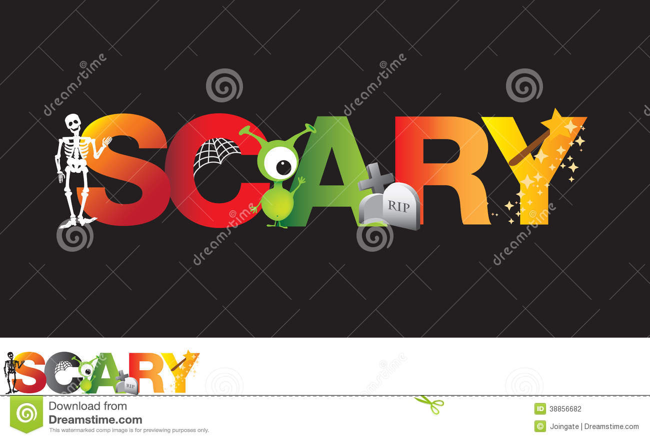 The Word Scary As A Cartoon Typograpy Stock Photo - Image: 38856682